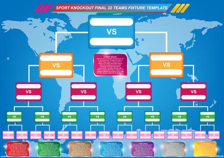 Ilustración de Sport fixture and result template for final round 32 teams knockout competition and world map background. Vector EPS10 - Imagen libre de derechos