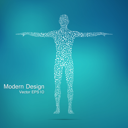 Illustration pour Structure molecule of man. Abstract model human body DNA . Medicine, science and technology. Scientific Vector for your design - image libre de droit