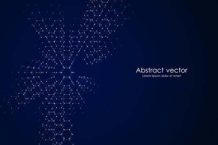 Illustration pour Abstract hexagonal background. Medical, scientific or technological concept. Geometric polygonal graphics. vector illustration. - image libre de droit