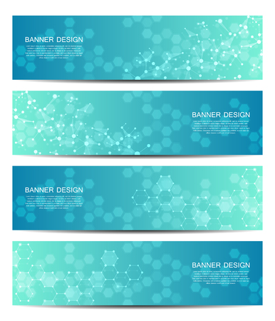 Illustration pour Set of abstract banner design, dna molecule structure background. Geometric graphics and connected lines with dots. Scientific and technological concept, vector illustration - image libre de droit