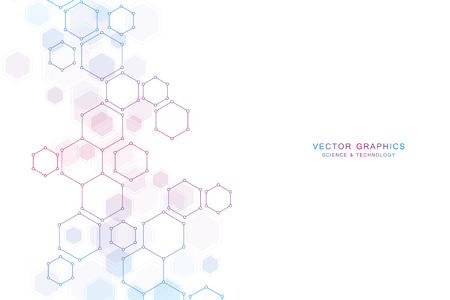 Foto für Abstract science background with hexagons and molecules. - Lizenzfreies Bild