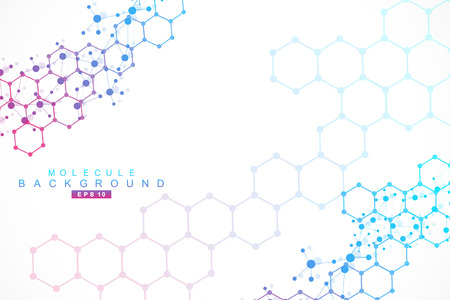 Illustration pour Structure molecule and communication. Dna, atom, neurons. Scientific concept for your design. Connected lines with dots. Medical, technology, chemistry, science background. Vector illustration. - image libre de droit