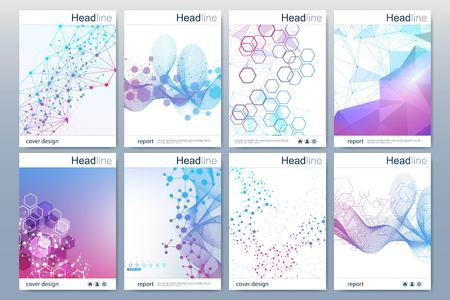 Ilustración de Business templates brochure, magazine, leaflet , flyer, cover, booklet, annual report. Scientific concept for medical, technology chemistry Hexagonal molecule structure Dna atom neurons. - Imagen libre de derechos