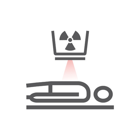 Illustration for Body CT, CAT Scan. Line icon. Radiotherapy sign. Vector symbol for web graphic. - Royalty Free Image