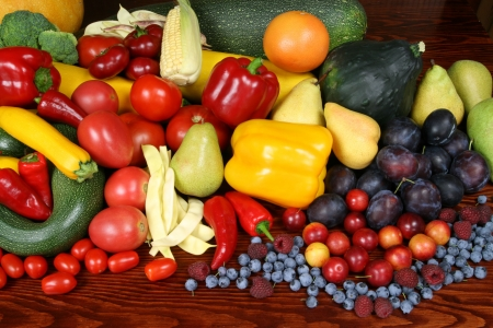Delicious, colorful variety of fresh  fruits and vegetables
