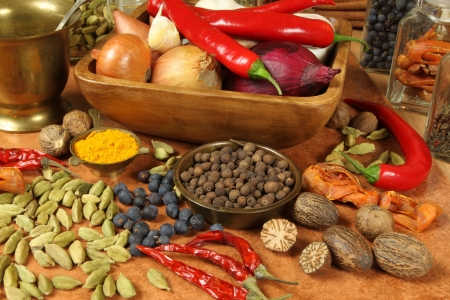 Spices  and herbs selection. Aromatic ingredients and natural food additives. Cuisine elements.