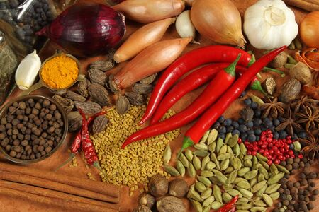Spices and herbs variety. Aromatic ingredients and natural food additives. Cuisine elements.