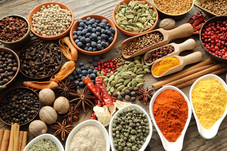 Photo for Aromatic spices in metal and ceramic bowls. - Royalty Free Image