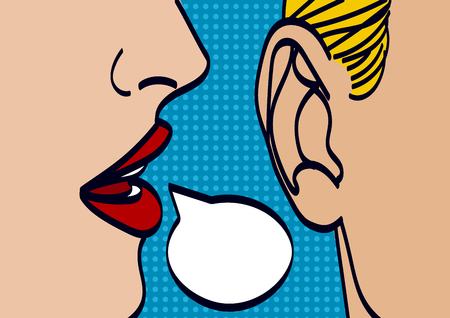 Illustration pour Woman lips whispering in mans ear drawing vector illustration - image libre de droit