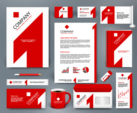 Illustration pour Professional universal branding design kit with red number one on white backdrop. Corporate identity template. Business stationery mockup. Editable vector illustration: folder, mug, etc. - image libre de droit