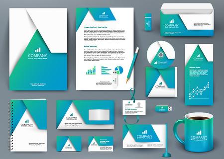 Foto de Professional universal blue branding design kit with  origami element. Corporate identity template, business stationery mock-up for real estate company. Editable vector illustration: folder, mug, etc. - Imagen libre de derechos