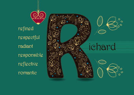 Illustration pour Name Day Card for Richard. Brown letter R with golden floral decor. Vintage red heart with chain. Words begining with the letter R - refined, respectful, radiant, responsible, romantic, reflective - image libre de droit