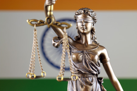 Photo pour Symbol of law and justice with India Flag. Close up. - image libre de droit