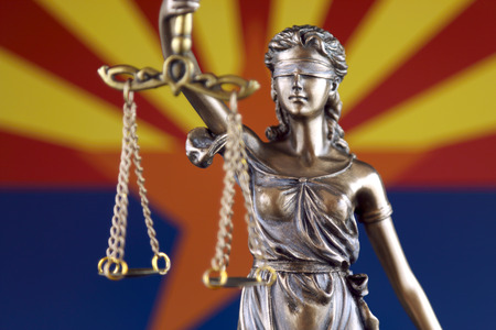 Photo pour Symbol of law and justice with Arizona State Flag. Close up. - image libre de droit