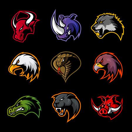Illustration for Bull, rhino, wolf, eagle, cobra, alligator, panther, boar head logo. Modern badge mascot design. Premium quality wild animal, bird, snake, t-shirt, tee print illustration. - Royalty Free Image