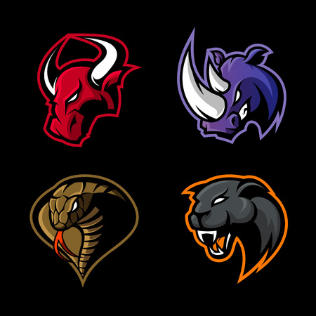 Illustration for Furious rhino, bull, cobra and panther sport vector logo concept set isolated on black background. Mascot team badge design. Premium quality wild animal and snake t-shirt tee print illustration. - Royalty Free Image