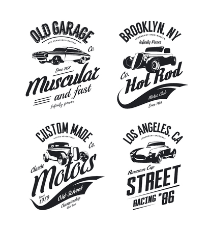 Ilustración de Vintage roadster, custom hot rod and muscle car isolated set. - Imagen libre de derechos