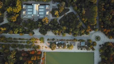 Photo for flight drones over the famous Park of the Retiro of Madrid - Royalty Free Image