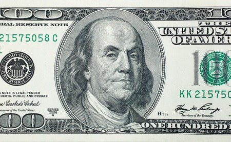 Photo pour Angry President Benjamin Franklin on 100 US dollar bill - image libre de droit