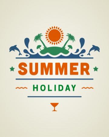Retro summer design poster  Vector illustration