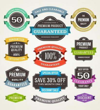 Illustration pour vintage sale labels and ribbons set design elements - image libre de droit