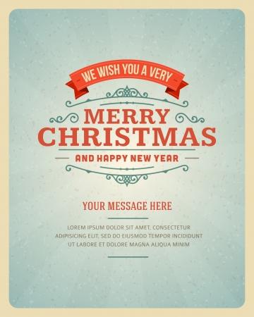 Illustration pour Merry Christmas postcard ornament decoration background  Vector illustration - image libre de droit