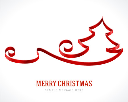 Christmas tree from red ribbon background  Vector illustration Eps 10