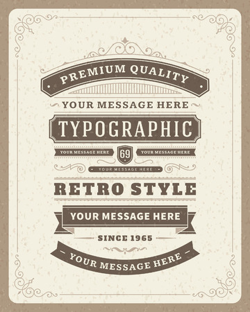 Photo for Retro typographic design elements  Template for design invitations, posters and other design   - Royalty Free Image