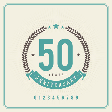Illustration for Vintage anniversary message emblem  Retro vector background   - Royalty Free Image