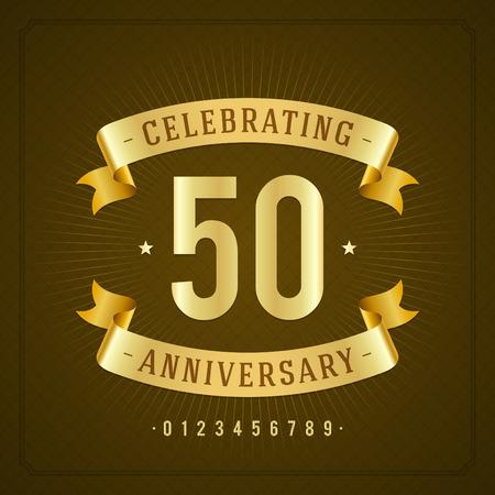 Illustration pour Golden vintage anniversary message emblem  Retro vector background   - image libre de droit