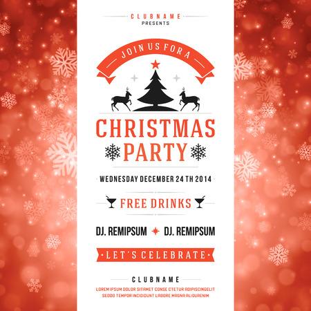 Ilustración de Christmas party invitation retro typography and ornament decoration - Imagen libre de derechos