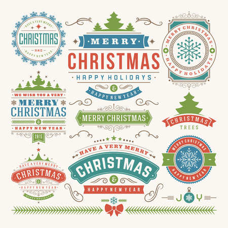 Illustration pour Christmas decoration vector design elements. Merry Christmas and happy holidays wishes.Typographic elements, vintage labels, frames, ornaments and ribbons, set. Flourishes calligraphic.  - image libre de droit