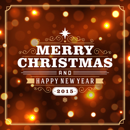 Illustration for Christmas retro typography and light background. Merry Christmas holidays wish greeting card design and vintage ornament decoration. Happy new year message. Vector illustration Eps 10. - Royalty Free Image