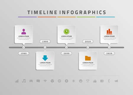 Ilustración de Timeline infographic and icons vector design template.  For web design, timeline and workflow layout. - Imagen libre de derechos