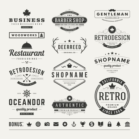 Ilustración de Retro Vintage Insignias or icon set. Vector design elements, business signs, icons, identity, labels, badges and objects. - Imagen libre de derechos