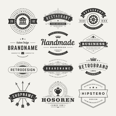 Illustration for Retro Vintage Insignias or icons set. Vector design elements, business signs, icons, identity, labels, badges and objects. - Royalty Free Image