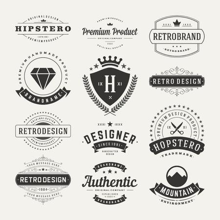 Ilustración de Retro Vintage Insignias or icons set. Vector design elements, business signs, icons, identity, labels, badges and objects. - Imagen libre de derechos
