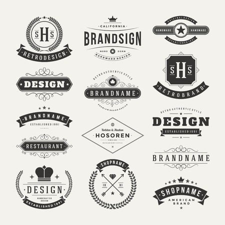 Photo pour Retro Vintage Insignias or Logotypes set. Vector design elements, business signs, logos, identity, labels, badges and objects. - image libre de droit