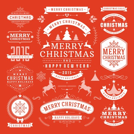 Photo for Christmas Decoration Vector Design Elements. Merry Christmas and happy holidays wishes.Typographic elements, vintage labels, frames, ornaments and ribbons, set. Flourishes calligraphic. - Royalty Free Image