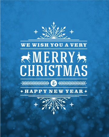 Illustration for Christmas retro typography and light with snowflakes. Merry Christmas holidays wish greeting card design and vintage ornament decoration. Happy new year message. Vector background Eps 10. - Royalty Free Image