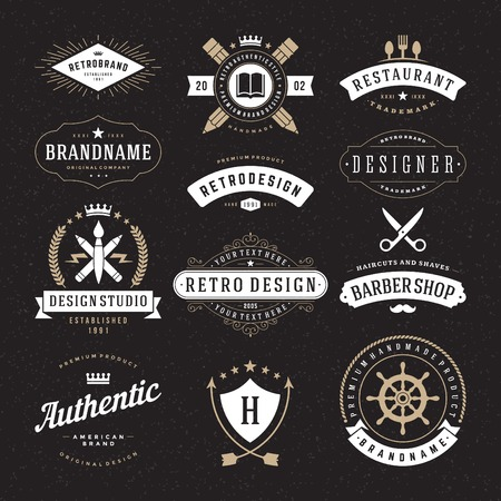 Photo for Retro Vintage Insignias or icon types set. Vector design elements, business signs, identity, labels, badges and objects. - Royalty Free Image