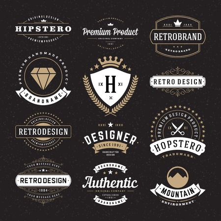 Foto de Retro Vintage Insignias or Logotypes set. Vector design elements, business signs, logos, identity, labels, badges and objects. - Imagen libre de derechos