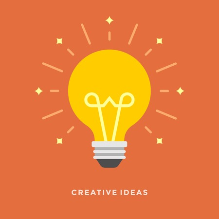 Illustration pour Flat design vector business illustration concept Creative idea with light lamp bulb for website and promotion banners. - image libre de droit