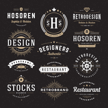 Foto per Retro Vintage Insignias or Logotypes set. Vector design elements, business signs, logos, identity, labels, badges and objects. - Immagine Royalty Free