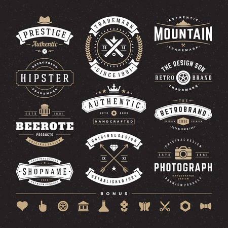 Photo pour Retro Vintage Insignias or icons set.  - image libre de droit