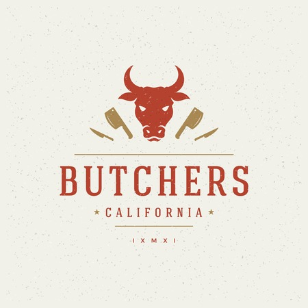 Illustration pour Butcher Shop Design Element in Vintage Style for icon. - image libre de droit