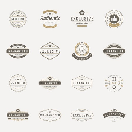 Illustration pour Retro Vintage Premium Quality Labels set. Vector design elements, signs, logos, identity, labels, badges, logotypes, stickers and stamps. Satisfaction, Guaranteed, Highest, Best choice and other text. - image libre de droit