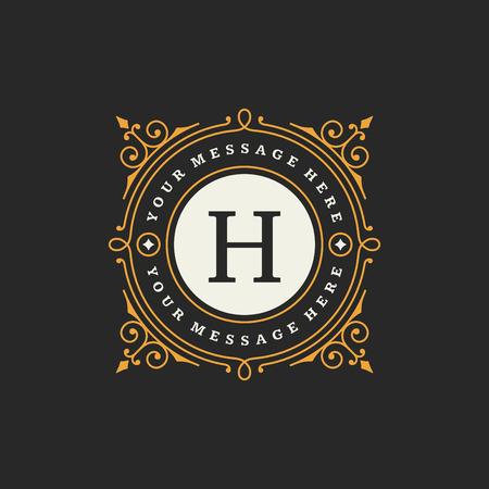 Illustration pour Flourishes calligraphic monogram emblem template. Luxury elegant frame ornament line design vector illustration. Good for Royal sign, Restaurant, Boutique, Cafe, Hotel, Heraldic, Jewelry, Fashion - image libre de droit