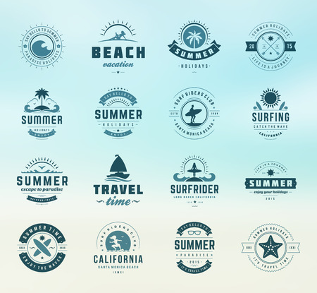 Illustration for Summer holidays labels design elements and typography set. Retro and vintage templates. Badges, Posters, Emblems, Apparel. Vector set. Beach vacation, party, travel, tropical paradise, adventure. - Royalty Free Image