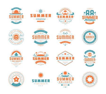 Illustration pour Summer holidays design elements and typography set. Retro and vintage templates. Labels, Badges, Posters, T-shirts, Apparel. Vector set. Beach vacation, party, travel, tropical paradise, adventure. - image libre de droit